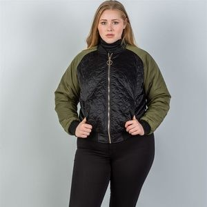 Jackets & Blazers - Plus black & olive quilted bomber jacket